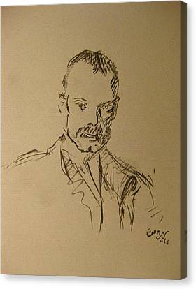 Canvas Print featuring the painting Male Portrait Sketch As A Tribute To Jss by M Zimmerman