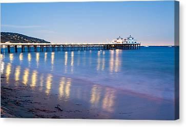 Malibu Pier Reflections Canvas Print by Adam Pender