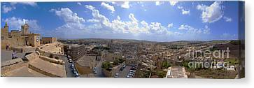 Malta Panoramic View Of Valletta  Canvas Print by Guy Viner