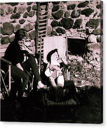 Mamma Chris And Colette Having A Well Deserved Rest  Siesta In The Garden In Alba France  Canvas Print by Colette V Hera  Guggenheim