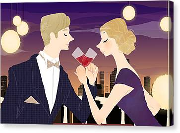 Man And Woman Toasting With Glasses Of Red Wine At Dining Table Canvas Print by Eastnine Inc.