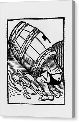 Man Collecting Tartar From A Empty Wine Barrel Canvas Print by