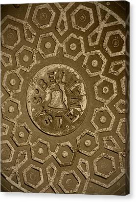 Man Hole Cover For Ma Bell Canvas Print by Kym Backland