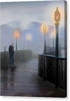 Man In A Fog Canvas Print by Suni Roveto