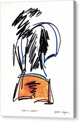 Canvas Print featuring the drawing Man In Shorts  by Patrick Morgan