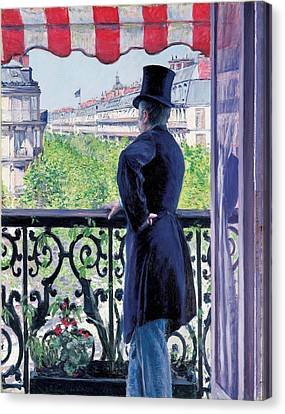 Man On A Balcony On Boulevard Haussmann Canvas Print