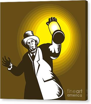 Man Wearing Top Hat And Holding Lantern Canvas Print by Aloysius Patrimonio
