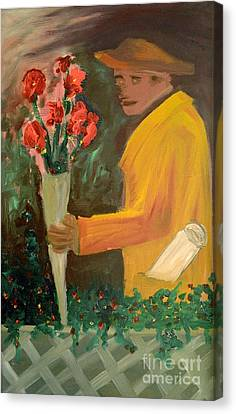 Man With Flowers  Canvas Print by Bruce Stanfield