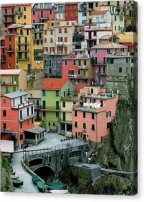 Manarola Houses On The Cinque Terre Canvas Print by Greg Matchick