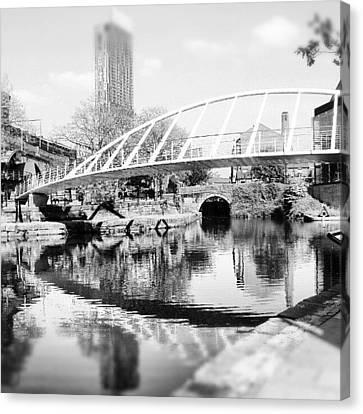 #manchestercanal #manchester #city Canvas Print by Abdelrahman Alawwad