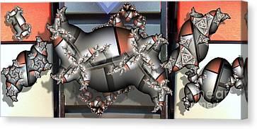 Mandelbrot Meets Mondrian Canvas Print by Ron Bissett
