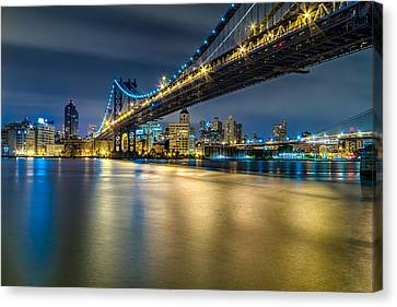 Manhattan Bridge And Downtown Brooklyn At Night. Canvas Print