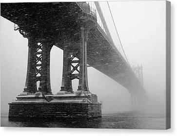 Built Canvas Print - Manhattan Bridge Durning Winter Snow Storm by Anthony Pitch