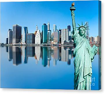 Canvas Print featuring the photograph Manhattan Liberty by Luciano Mortula