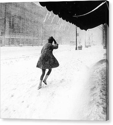 Manhattan Snowstorm, 1969 Canvas Print