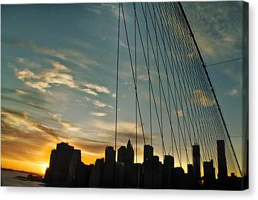Manhattan Through The Bridge Canvas Print by Alex AG