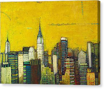 Manhattan With Chrysler And Empie Canvas Print by Habib Ayat
