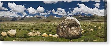 Mani Rocks Carved With The Tibetan Canvas Print by Phil Borges
