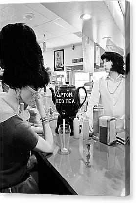 Peggy Sues Diner Canvas Print - Mannequins At Peggy Sues 50's Diner by Julie Niemela