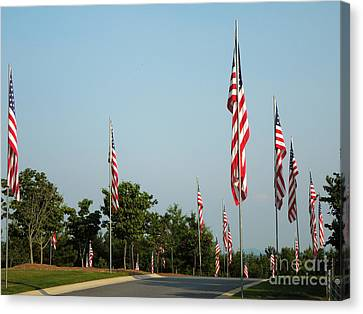 Many American Flags Canvas Print by Renee Trenholm