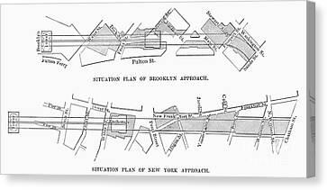 Map: Brooklyn Bridge Canvas Print by Granger