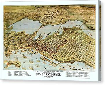 Map City Of Vancouver Canvas Print by Pg Reproductions