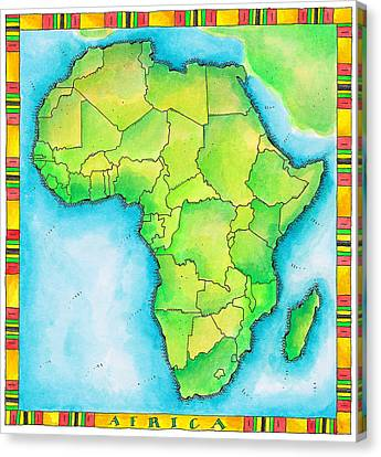 Map Of Africa Canvas Print by Jennifer Thermes