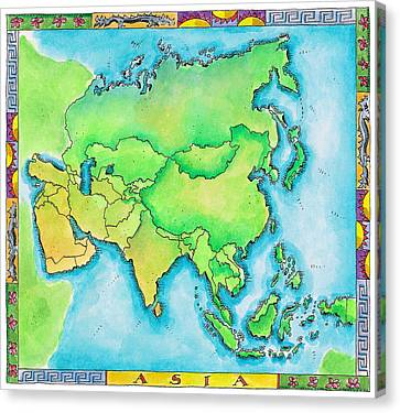 Map Of Asia Canvas Print by Jennifer Thermes