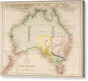 Map Of Australia And New Zealand Canvas Print by J Archer