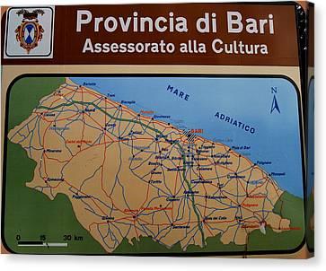 Map Of Bari Italy Canvas Print by Caroline Stella