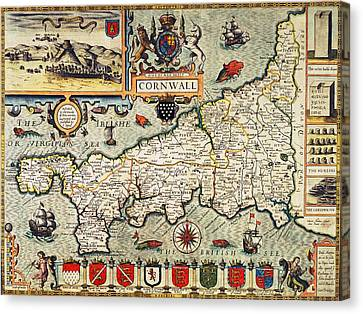 Map Of Cornwall Canvas Print by John Speed