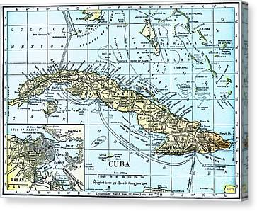 Map Of Cuba Canvas Print by Pg Reproductions