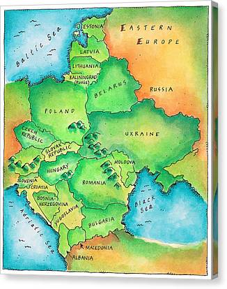 Map Of Eastern Europe Canvas Print