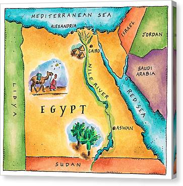 Map Of Egypt Canvas Print by Jennifer Thermes