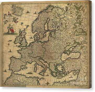 Map Of Europe, 1700 Canvas Print
