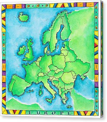 Map Of Europe Canvas Print by Jennifer Thermes