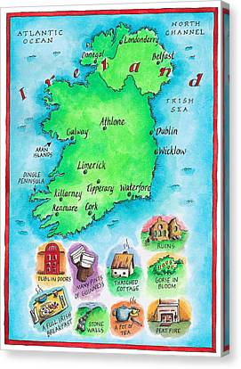 Map Of Ireland Canvas Print by Jennifer Thermes