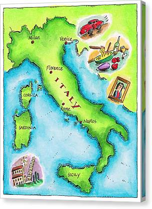 Map Of Italy Canvas Print by Jennifer Thermes