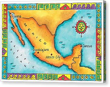 Map Of Mexico Canvas Print by Jennifer Thermes