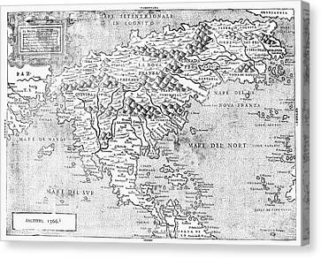 Map Of New France, 1566 Canvas Print