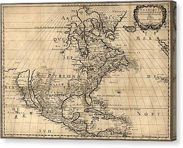 Map Of North America Continent Showing Canvas Print by Everett