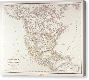 Map Of North America Canvas Print by Fototeca Storica Nazionale