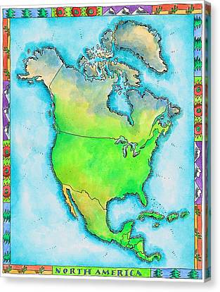 Map Of North America Canvas Print by Jennifer Thermes