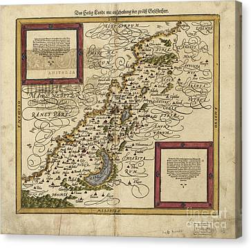 Map Of Palestine, 1588 Canvas Print by Photo Researchers