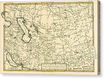 Map Of Persia Canvas Print by Guillaume Raynal
