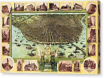 Map Of Saint Louis Canvas Print by Pg Reproductions