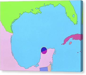 Map Of Size And Location Of Chicxulub Crater Canvas Print