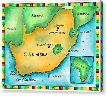Map Of South Africa Canvas Print by Jennifer Thermes