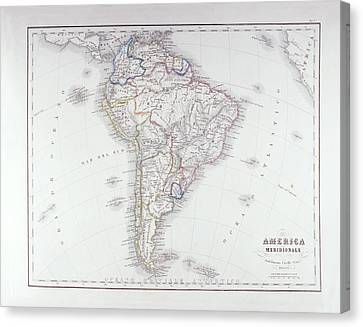 Map Of South America Canvas Print by Fototeca Storica Nazionale