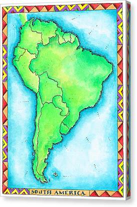 Map Of South America Canvas Print by Jennifer Thermes